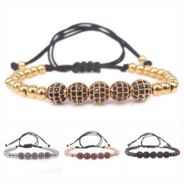 Wholesale Mens Rope Crystal Beads Bracelets - Famous Brand Braided Macrame Bracelets Charm Mens Womens Bangles 8mm Pave Setting Black CZ Beads & 5mm Brass Beads