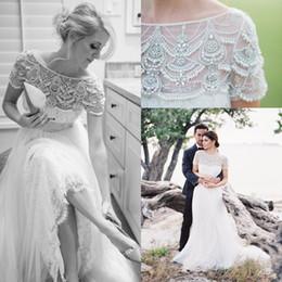 cinto de comprimento de piso Desconto 2018 estilo Art Short Sleevs vestido de casamento Beads Lace Tulle até o chão Boho vestido de noiva com cinto de cristal