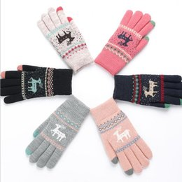 Wholesale Wholesale Women S Fashion Gloves - Deer warm gloves fingers touch screen glove s Deer Soft Winter Gloves Christmas Gifts Mittens for Women Touch Screen glove LJJK797