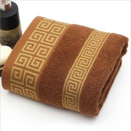 Wholesale men baths - hot sale men luxury 100% cotton bath towel brand serviette de bain adulte embroidery large beach towels 70x140cm