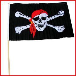 Wholesale Function House - Pirate Flag 30*45CM Multi Function Halloween Haunted House Bar KTV Skull Flags Chemical Fiber Cloth Black Decorate Tool 1 98qk J R