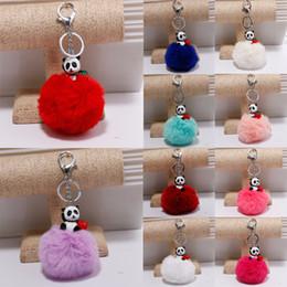 Wholesale Panda Keychains - Alloy Cartoon Keychain 13 Styles Plush Panda Strawberry keychains Fur ball Key Ring Fashion Accessorice For Women Gift D196Q