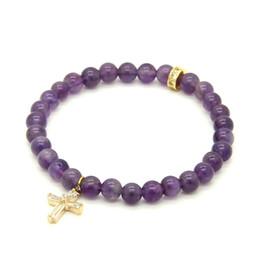 Micro perles de 6 mm en Ligne-1 PCS Haute Qualité Bijoux 6mm Pierre Perles Avec Micro Pavé Clair Zircons Spacer Cz Perles Croix Bracelets