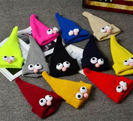 Wholesale Cute Animals Big Eyes - 11 Colors Cute Hat Cap Children joker lovely candy cap pointed hat knitting hat big eyes girl fall and winter