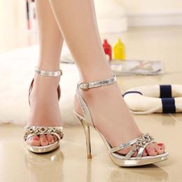 Wholesale Diamond Wedding Heels - High Quality Peep Toe Buckle Sandals Luxry Diamond Thin High Heels Party Wedding Pumps 2016 New Golden Sliver Summer Women Shoes