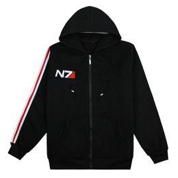 Sweat-shirt à effet massif n7 en Ligne-Mode RPG Jeu Mass Effect 3 N7 top manteau vêtements de costume de cosplay noir Sweat-shirts de survêtement en coton unisexe pour hommes