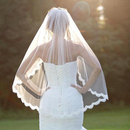 Wholesale Silver Voile Lace - Soft Tulle Lace Edge Short Bridal Veil White Ivory Fingertip Wedding Veil Bridal Accessories With Comb voile mariage