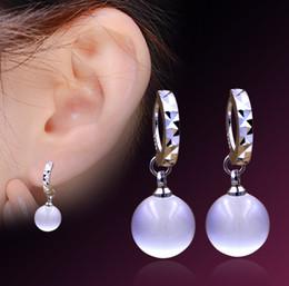 Wholesale White Opal Silver Earrings - New 925 sterling silver stars Korea opal earrings women's earrings ear jewelry wholesale