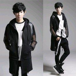 Wholesale Polo Vest Xl Black - Hot Nightclub Fashion Harajuku Zipper Hip Hop Designer Polo Dress Hooded Long Men Vest Sleeveless Jacket Waistcoat M-XL