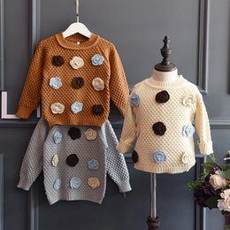 Wholesale Kids Sweaters Wholesale - 2016 Autumn winter Girls flowers pullover sweater knitwear kids long-sleeved Tops Sweaters knitting shirt Brown beige pullover