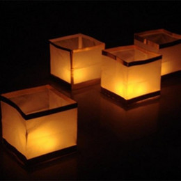 Wholesale Water Lanterns Wedding - 15cm Square water lamp lanterns Chinese Square Wishing Lantern waterproof Floating Water Lanterns Lamp With Candle