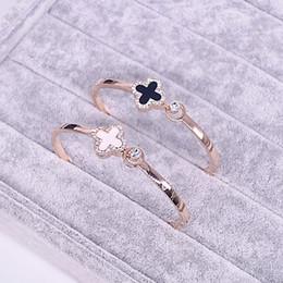 Wholesale Rose Gold Clover Bracelet - 18K Rose gold Bangle for Women Four Leaf Clover Lover Gift Rose Gold Black Natural Shell Cuff Bracelet
