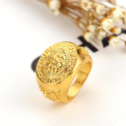 Wholesale Rock Band Rings - Europe Luxury 24 K gold hip hop finger ring retro Lion head hiphop rings cuff statement jewelry for men rock jewelry 080099