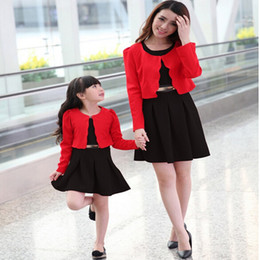Wholesale Matching Mom Daughter Clothes - Hot Sale 2017 Top Quality 2 Piece Set Dress+Coat Mom And Daughter Dresses Sport Suit Women Mother Daughter Matching Clothes Girl Dress