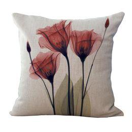 Wholesale room sofa set - New High Quality Cotton and Linen Sofa Pillow Set Pastoral Elegant Small Flower Cotton and Flax Living Room Sofa Pillowcase 45 * 45 CM