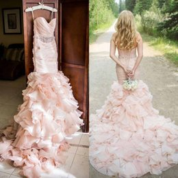 Wholesale Sexy Mermaid Tail Wedding Dresses - Gorgeous 2016 Blush Pink Organza Mermaid Wedding Dresses Cheap Spaghetti Ruched Ruffles Fish Tail Chapel Bridal Gowns Custom Made EN414