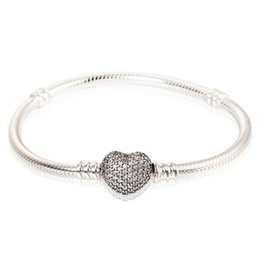 Wholesale Pave Bracelet Bangle - Authentic 925 Sterling Silver Charm Bangles Pave AAA CZ Heart Clasp Clip Stamped Brand European Style Charm Bracelet Bead Jewelry DIY