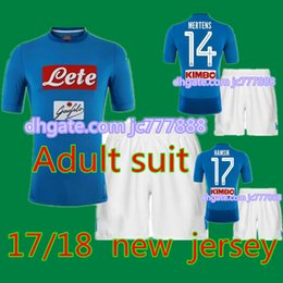 Wholesale Men S Blue Suits - 2017 Top quality New Napoli soccer Jersey 17 18 Adult suit HAMSIK home blue INSIGNE MERTENS thai quality Naples football shirt kits