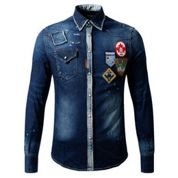 Wholesale Collar Denim Shirt - Free shipping wholesale 2017 autumn new men's long-sleeved badge denim shirt male Korean youth shirt 6981