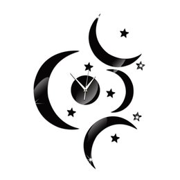 Wholesale Moon Watch Design - 2016 wall clocks new arrival quartz watch 3 big moons clock modern design luxury mirror 3d crystal watch Acrylic TY1934