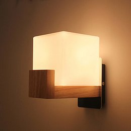 Wholesale Frosted Glass For Lamp - Northern Europe Style Wood LED Wall Light Lamps For Home Lighting bed light,Wall Sconce Arandela Lamparas De Pared