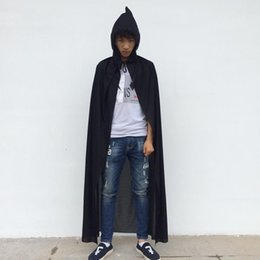 Wholesale Devil Wholesale - Halloween Party Ghost Costume 1.4 meter Long Black Cloak with Cap Cosplay Devil Dressing free shipping