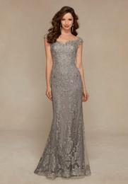 Wholesale Elegant Dress Mother - Arabic 2016 Silver Elegant Full Lace Sheath Mother's Dresses Off the Shoulder Cap Sleeve Mother of the Bride Dresses For Weddings BA0576