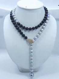 "Wholesale Real Black Sea Pearl Necklace - 34"" Adjustable AAA 10-11MM real south sea Multicolor black gray pearl necklace"