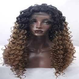 Wholesale Elastic Items - lace front wigs beautiful new woman with a long black blonde wig Mixed color Curly hair African American fashion wig Popular items kabell
