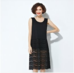 Wholesale Loose Solid Tank Dresses - New Women 2016 Spring Summer All-match Basic Fit Loose Sleeve Tank Vest Lace Dresses Plus size Holiday Casual dress
