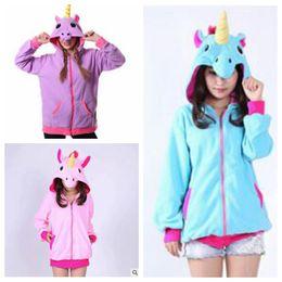 Wholesale Cosplay Sweaters - Unicorn Hoodies Anime Sky Horse Jackets Women Cartoon Zipper Hoodies Cosplay Sweatshirts Polar Fleece Coats Costume Sweater Outerwear B3373