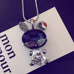 Wholesale Item Stone - Lovely Cat Eye Gem Stone Rabbit pendant sweater necklace with chain jewelry for men or women item number NE835