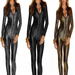 Wholesale Gothic Dance Costumes - DS Club Wear Female Pole Dance Outfit Siamese Leather Snakeskin Tight Zipper Uniform Conjoined Temptation Outfit