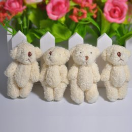 Wholesale Wholesale Teddy Bear Gift Bags - 20pcs 6cm Cartoon Pearl Wool Mini Jointed Bear Soft Dolls Pendants Toys For Key chain Bouquet bag Decorative accessories gift
