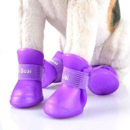 Wholesale Socks For Rain Boots - 4Pcs  Lot Summer Pet Dog Shoes Waterproof Rain Pet Shoes for Dog Puppy Rubber Boots Portable Durable Puppy Shoes Pet Products 5