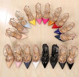Wholesale Dress Purple Metal - LuxuryRivets PumpsBrand Designer Metal Rivets Leather Heel Shoes T-Strap Pumps Women Sandals High Heels Ladies Rivets Shoes