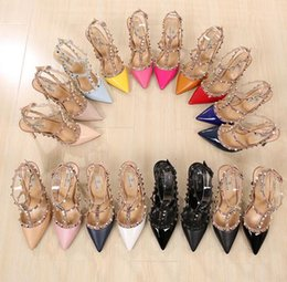 Wholesale Pink Ladies Wedding - LuxuryRivets PumpsBrand Designer Metal Rivets Leather Heel Shoes T-Strap Pumps Women Sandals High Heels Ladies Rivets Shoes