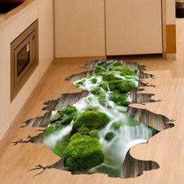 Wholesale Country Living Homes - 3D Stream Floor Decor Wall Sticker Removable Mural Decals Vinyl Art Home Decoration