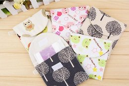 Wholesale Towels Packing - portable lady's Sanitary napkin bag 5 style Cute Cotton sanitary napkins pack Sanitary towel storage bag