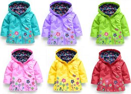 Wholesale Children S Coat Jacket - Children Raincoat for Kids 2016 Fashion Baby Girls Clothes Winter Coat Flower Rain coat Jacket For Windproof Outdoor Children DHL C1297