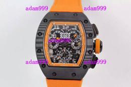 Wholesale Eta Big Watches - Christmas Gift Wholesale Luxury Carbon Fiber Stainless ETA 7750 Watch Automatic Chonograph RM011-FM Orange Fabric Big Men Antique Wristwatch