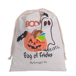 Wholesale Large Christmas Candy Decorations - Halloween candy bag gift sacks 36*48CM Large Canvas bags cotton Drawstring bag Pumpkin devil spider printing Hallowmas Gifts Sack Bags