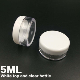 Wholesale Mini Plastic Jars Free Shipping - Free shipping White Lid 5ML PS Cream Jar,Mini Cosmetic Cream Sample bottle Container Display Case Cosmetic Packaging 5g Mini plastic bottle