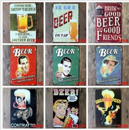 Wholesale Retro Vintage Metal Art - Beer Coffee Tavern Vintage Metal Sign Tin Poster Pub Bar Cafe Shop Decoration Retro Sign Tin Poster Beer Worldwide Tavern