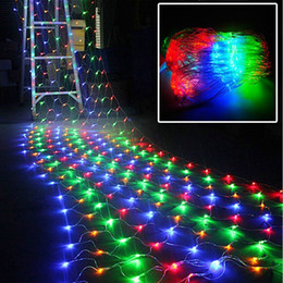 Wholesale String Lights Mesh - 2M x 3M 200 LED Linkable Web Net Mesh Fairy String Light for Indoor Outdoor Home Garden Christmas Party Wedding Curtain String Lights