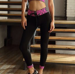 Wholesale Tights Shorts Free - Free Shipping Letter Women Sport Fitness Yoga Shorts love pink Tights Shorts Lady Running Leggings Gym Jogging Workout Tracksuits Sportswear