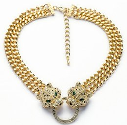Wholesale Gold Lion Choker - 2015 New Fashion Jewelry Collar Luxury Gold Chain Plated Chain Lion Head Animal Choker Short Pendant Necklace For Womens