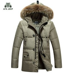 Wholesale Brown Men S Trench Coat - Wholesale- Free shipping Thicken Men's Down Jacket Leisure Winter Fashion White Duck Down Coat Fur Trench Hood Parkas 120hfx
