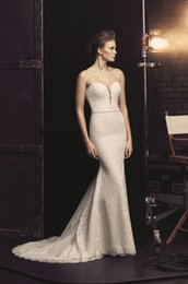 Wholesale Sweetheart Fit Flare Gowns - 2017 Lace Fit and Flare Wedding Dresses by Mikaella Bridal with Plunging Neck and Beaded Sash Elegant Bridal Gowns with Invisible Zipper