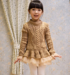 Wholesale Girl Lace Sweater - 2016 Autumn and Winter Girls Sweater Dresses Soft Knitted with Lace Tutu Dresses Princess Jumpsuit Pullover Casual Dress